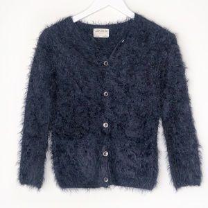 ZARA GIRL. Navy fuzzy button up sweater.